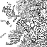 Scotland Type Map, Run For The Hills - CultureLabel - 7 (white; close up)