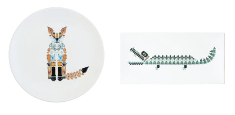 Crocodile Rectangular Plate (Large) and Fox Plate (Medium) Set, Kim Sera - CultureLabel