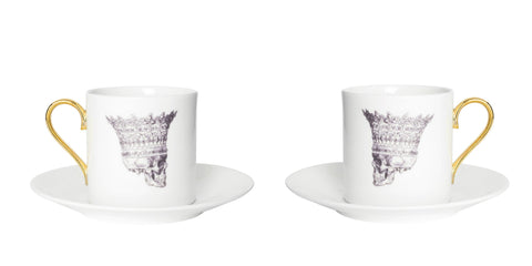 Skull in Crown Espresso Cup & Saucer Set of Two, Melody Rose - CultureLabel