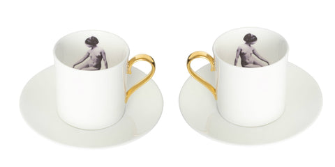 Girl in a Cup Espresso Cup & Saucer Set of Two, Melody Rose