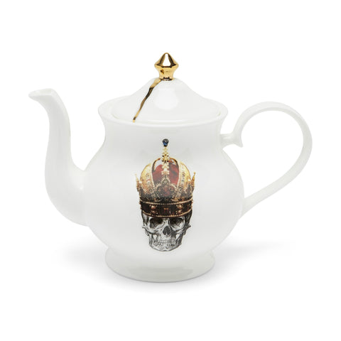 Skull in Red Crown Teapot, Melody Rose Alternate View