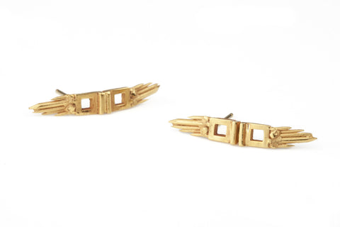 Gold Skyflight Earrings, Ros Millar Alternate View