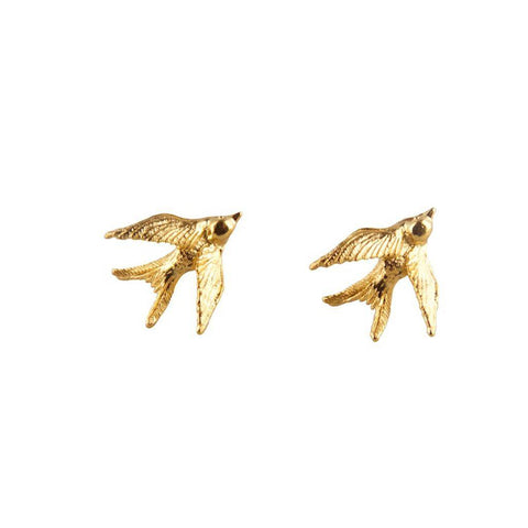 Gold Swallow Stud Earrings, Roz Buehrlen - CultureLabel