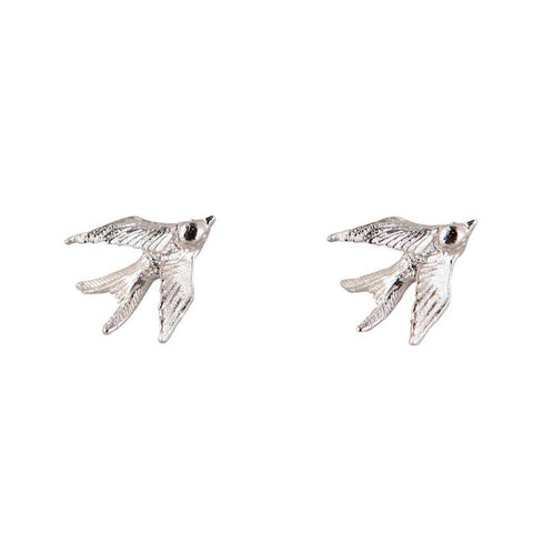 Silver Swallow Stud Earrings, Roz Buehrlen - CultureLabel