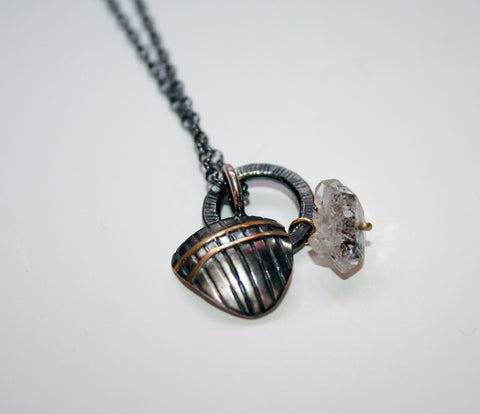 Oxidised Silver and Herkimer Diamond Pendant, Adele Taylor Alternate View