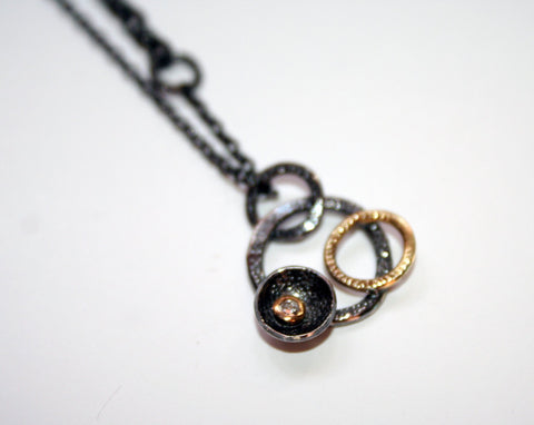 Oxidised Silver and 18ct Gold Diamond Circle Pendant, Adele Taylor Alternate View