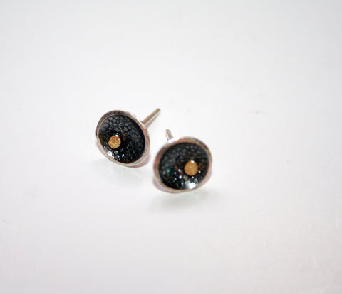 Silver Circle Studs with 18ct Gold Detail, Adele Taylor