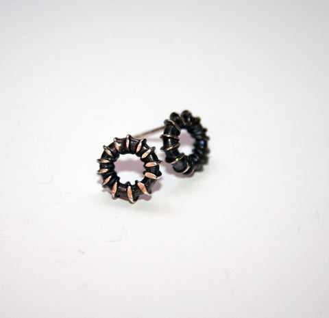 Oxidised Silver Wrap Studs, Adele Taylor