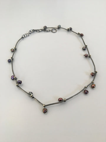 Oxidised Silver Pearl Necklace, Adele Taylor