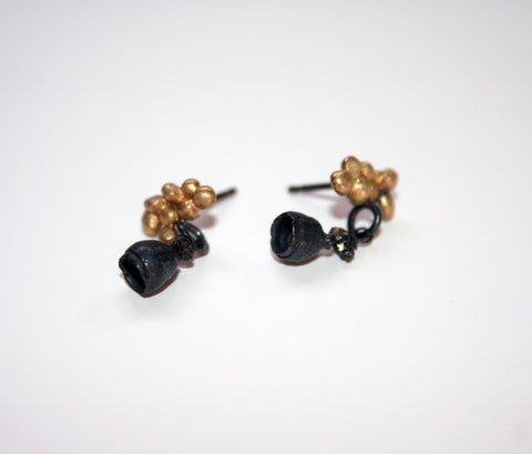 Oxidised Silver and 18ct Gold Studs with Black Diamond, Jennie Gill