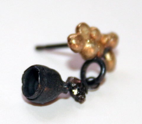 Oxidised Silver and 18ct Gold Studs with Black Diamond, Jennie Gill Alternate View