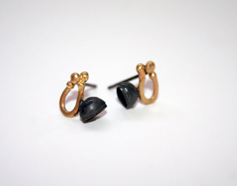 Oxidised Silver and 18ct Gold Studs, Jennie Gill - CultureLabel