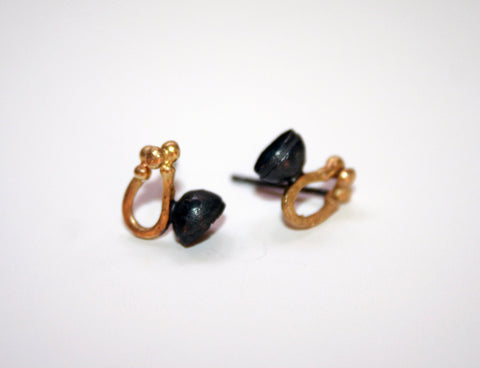 Oxidised Silver and 18ct Gold Studs, Jennie Gill Alternate View