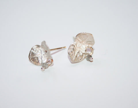 Silver Flower Leaf Studs with Diamond, Jennie Gill - CultureLabel - 1
