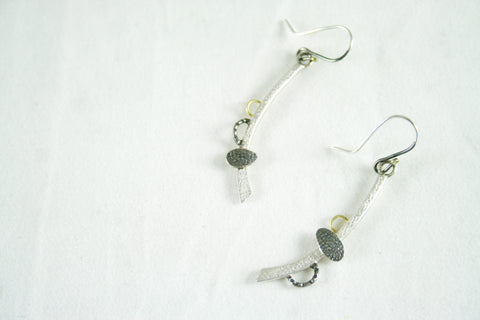 Silver Drop Pendant Earrings, Adele Taylor