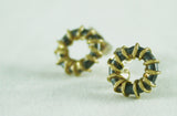 Gold Wrapped Oxidised Silver Studs, Adele Taylor