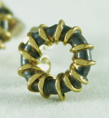 Gold Wrapped Oxidised Silver Studs, Adele Taylor Alternate View