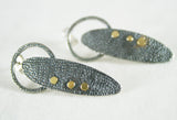 Gold Dot Oxidised Silver Earrings, Adele Taylor