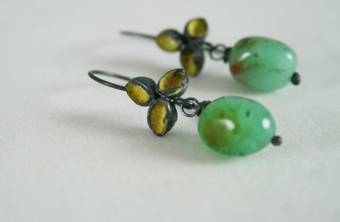 Oxidised Silver, Enamel and Quartz Petal Earrings, Jennie Gill