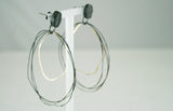 Oxidised Silver and Gold Loop Earrings, Jennie Gill - CultureLabel