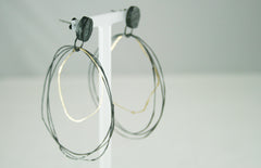 Oxidised Silver and Gold Loop Earrings, Jennie Gill Alternate View