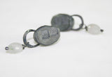 Oval Drop Bead Earrings in Oxidised Silver, Jennie Gill