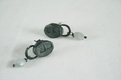 Oval Drop Bead Earrings in Oxidised Silver, Jennie Gill Alternate View