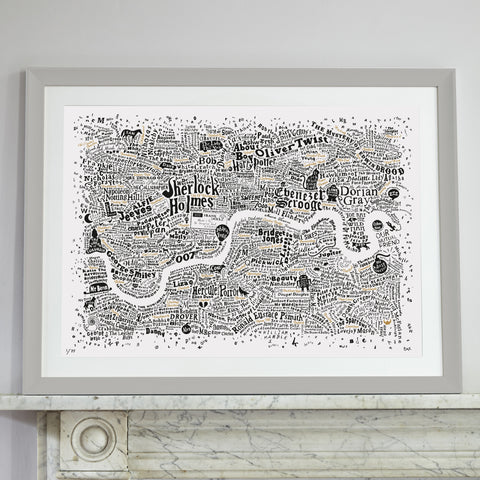 Literary London Map (White, Black and Gold, 2017), Run For The Hills - CultureLabel