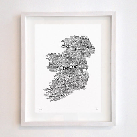 Ireland Type Map, Run For The Hills Alternate View
