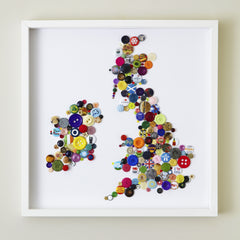 Handmade Button Map of The British Isles, Hello Geronimo