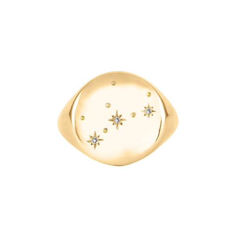 Gold Zodiac Constellation Diamond Signet Ring, No 13