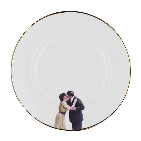 The Kissing Couple Bone China Plate, Melody Rose - CultureLabel
