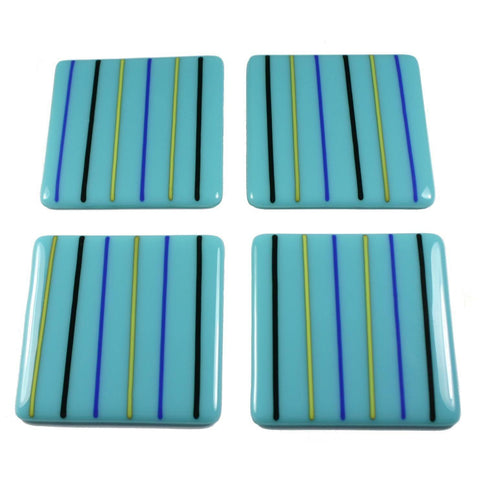Linea Fused Glass Coaster Set of Four, RD Glass
