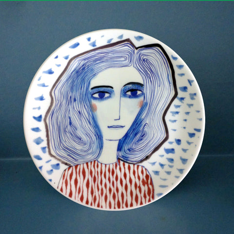 Blue Girl Plate, Katy Leigh - CultureLabel