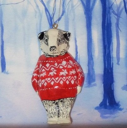 Maurice Badger Christmas Tree Decoration, Jimbobart