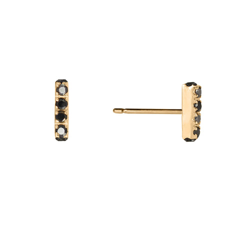 Black Diamonds Bar Stud Earrings, Lee Renée