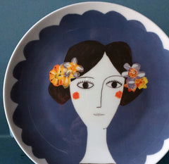 Blue Flower Plate, Katy Leigh Alternate View