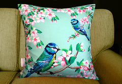 Blue Tits and Flowers Silk Cushion, Chloe Croft Alternate View