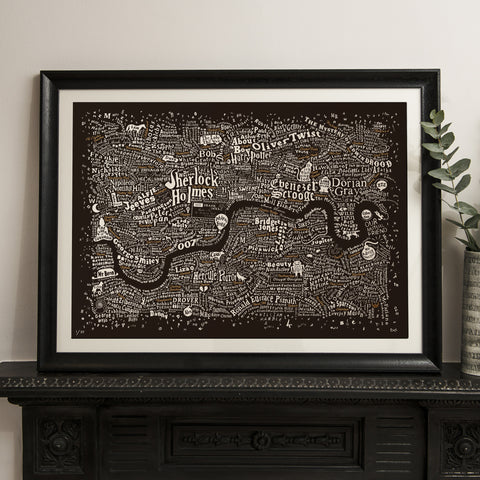 Literary London Map (Bronze & White on Brown Plike 2017), Run For The Hills