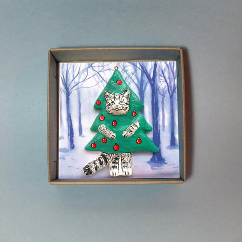 Minnie Cat Christmas Tree Decoration, Jimbobart