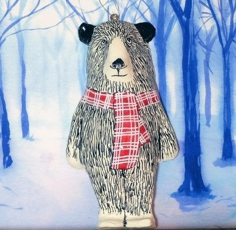 Clarence Bear Christmas Tree Decoration, Jimbobart