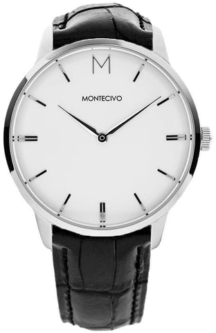 Classic Black Leather Watch, Montecivo Watches - CultureLabel - 1