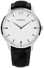 Classic Black Suede Watch, Montecivo Watches