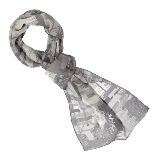 London Skyline Silk Scarf, The British Museum - CultureLabel - 1 (whole image with knot)