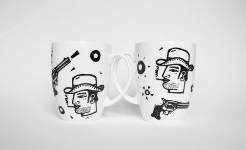 Cowboy Mugs Set of Two, Janet Milner