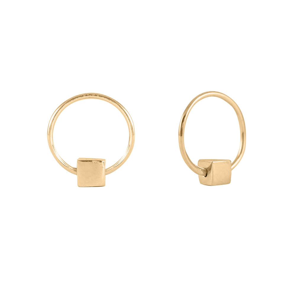Cube & Hoop Earrings Gold, Lee Renée - CultureLabel - 3