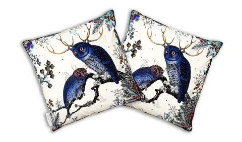 Twin Owls Cotton Cushion Cover, Kristjana S Williams Alternate View