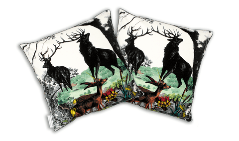Twin Stags Cotton Cushion Cover, Kristjana S Williams Alternate View