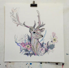 Floral Stag, Susie Wright Alternate View