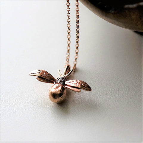 Handmade 18ct Rose Gold Vermeil Bumblebee Necklace, Pretty Wild Jewellery - CultureLabel - 1
